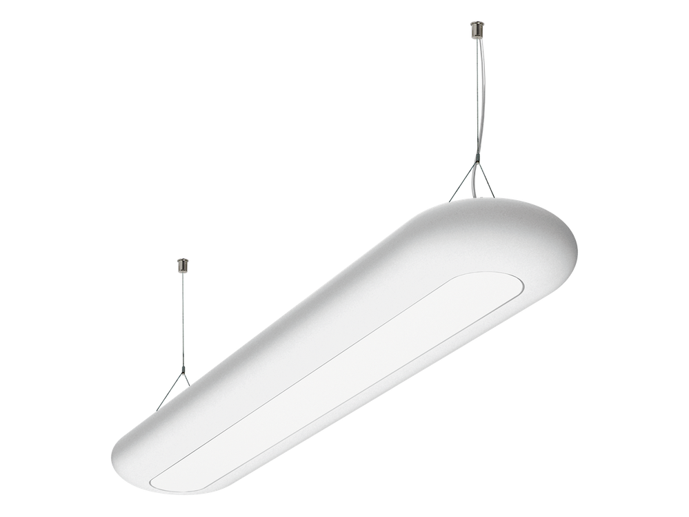 Photo PHANTOM LED CF Suspended luminaire with a polyethylene diffuser and variable color temperature.