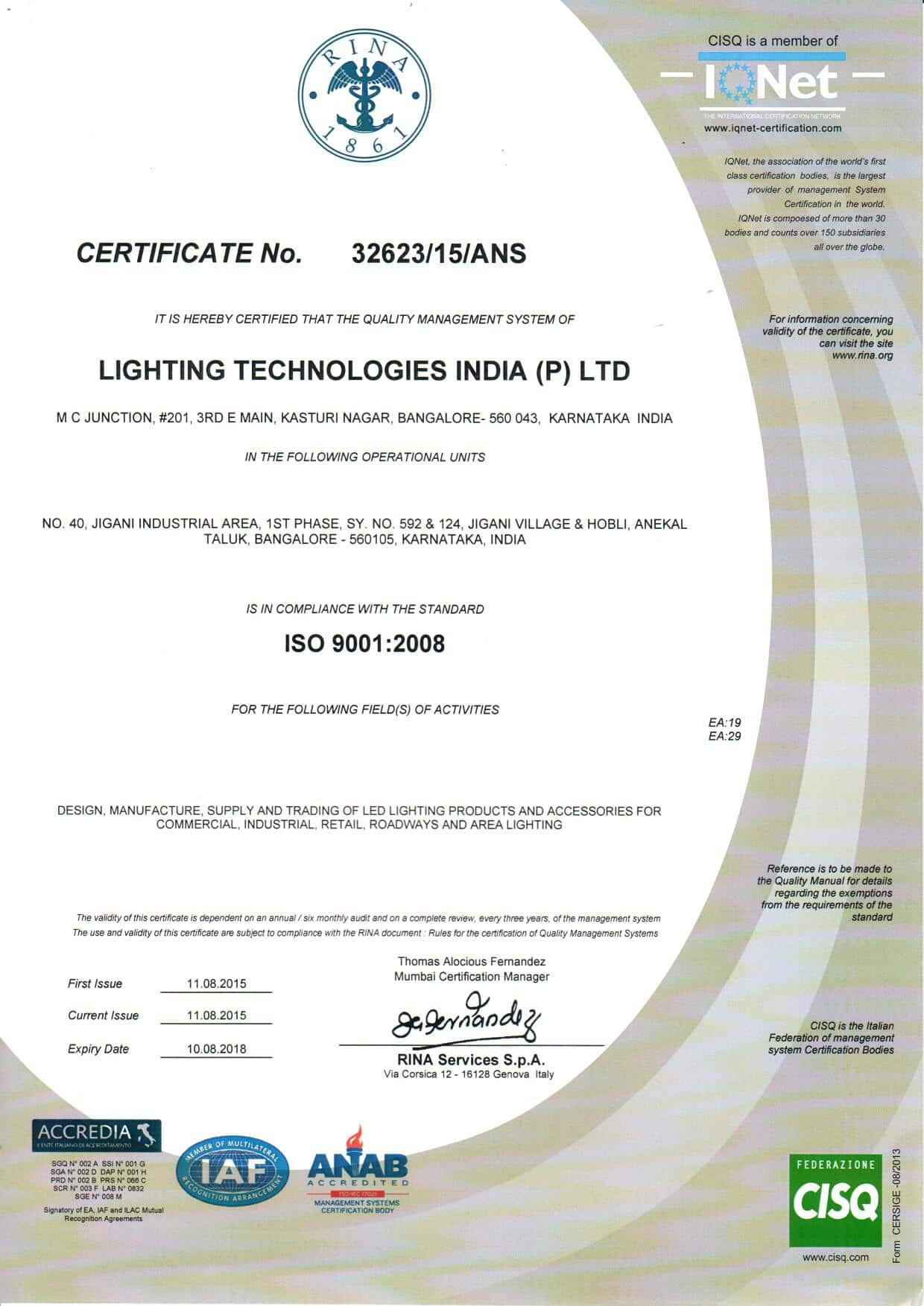 Industry certifications lighting technologies igc is iso 9001 quality management system certified since 2008 xflitez Choice Image